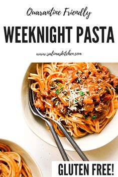 This quarantine weeknight spaghetti is made with gluten free noodles and loaded with flavorful ingredients you likely already have in the pantry. Gluten Free Recipes For Dinner, Healthy Gluten Free Recipes, Gluten Free Cooking, Healthy Dinner Recipes, Easy Recipes, Gluten Free Noodles, Gluten Free Pasta, Sin Gluten, Healthy Meal Prep