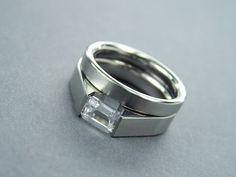 White Sapphire Engagement Ring Set - Titanium Tension-Set and Wedding Band - Satin Finish with Emerald Cut Sapphire