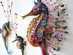 Seahorse art wall sculpture by artistJP on Etsy, $85.00  Love her sculptures. They are vivid, whimsical & beautiful.