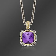 Andrea Candela 5.50 Carat Amethyst and .15 ct. t.w. Diamond Necklace in Two-Tone. 17""