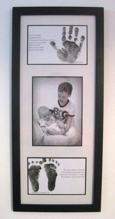 Handprint/Footprint and Portrait Keepsake.  (Capturing the moment in time where my son turned 3 yrs old just as my daughter turned 3 mos old!  Click the link for the words to the poems)