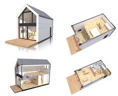Modułowy dom z antresolą z dachem dwuspadowym bez pozwolenia Minimal House Design, Modern Small House Design, Modern Barn House, Tiny House Design, Tiny House Cabin, Loft House, Cabin Homes, Modular Homes, Prefab Homes