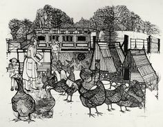 Feeding the Hens, by Charles Keeping (1924-1988)