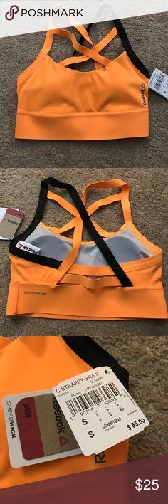 Reebok sport bra Orange sport bra with speed wick and sexy straps in front and back! 🍊 Reebok Intimates & Sleepwear Bras
