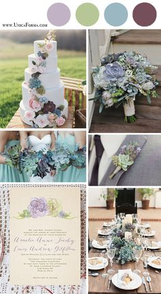 Succulent wedding. Succulent wedding cake. Succulent wedding invitations. Succulent wedding table setting. Succulent bridesmaids. Succulent groomsmen. Sage green and lavender wedding. Plum and dusty blue wedding. Invitations by Unica Forma