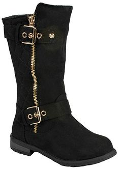 d3cba3ea138028 Kids Girls Mango23 Black Faux Suede Dual Buckle Zipper Quilted Mid Calf  Motorcycle Boots-1