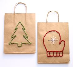Scroll way down to find the instructions for these embroidered gift bags--one sheepish girl: tutorial