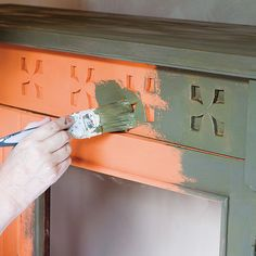 Annie Sloan shares step-by-step instructions on how to to transform an old bookcase using Barcelona Orange & Olive Chalk Paint® | House & Home
