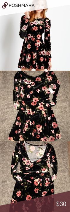 Velvet Skater Dress 🌸 Floral print skater dress. Bethany Mota Dresses Long Sleeve