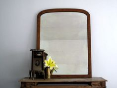 Antique Wood Mirror - Large Vintage Wall Mirror with Wood Frame - Decorative Mirror - Beveled Mirror on Etsy, $480.00