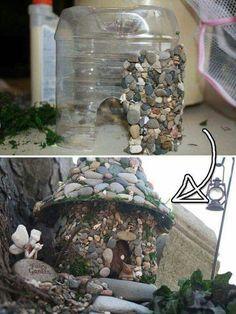 Une maison pour les fées du jardin de Valentine, et en plus on leur laissera des baguettes! Parce qu'il est temps !