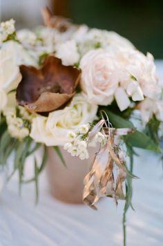 Rustic winter whit and copper centerpieces #cedarwoodweddings Woodland Cedarwood with White Rabbit Studios   Cedarwood Weddings