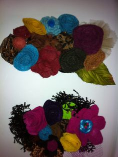 felt flowers arrangements for headbands and brooches.