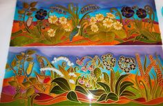 Stained glass effect hand painted panels designed just for you. Primrose and Pansy's among other garden flowers make these transom windows into a beautiful feature. www.theglassorchard.com