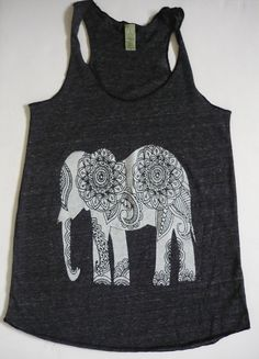 WOMEN ELEPHANT Screen Print Tank Top Alternative apparel tee S M L XL More Colors