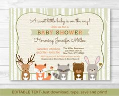 Woodland Baby Shower Invitation / Forest by LittlePrintsParties
