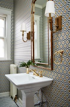I like a traditional pedestal sink like this one for a half bath, or for a guest bath if there is other storage available.