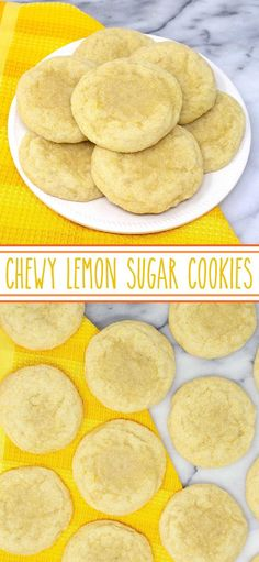 Chewy Lemon Sugar Cookies - deliciously simple sugar cookies with lemon extract, lemon juice and lemon peel that make these soft and tenacious lemon cookies refreshing lemon. cookies Chewy Lemon Sugar Cookies - deliciously simple sugar cookies with lemon Lemon Sugar Cookies, Sugar Cookies Recipe, Yummy Cookies, Simple Sugar Cookies, Lemon Recipes, Sweet Recipes, Baking Recipes, Dog Recipes, Dessert Simple