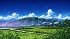 Black Hair Bokuden Clouds Grass Hat Landscape Original Scenic Shorts Sky Summer Anime Scenery Wallpaper Background