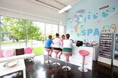 Get your nails done while enjoying a cocktail, mocktail or coffee at Bliss Nail Spa, up in the Houston Heights area.  Give 'em a call and they will set something special up for bridal parties, girly showers or a birthday celebration.