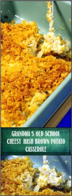"""Grandma's Cheesy Hash Brown Potato Casserole - 52 """"Old School"""" Church Potluck Casserole Side Dishes -  This is the one you remember from hundreds of Church Potlucks and big family gatherings.  Grandma knew what was good.  AND EASY Frozen hash browns and a handful fo ingredients and you have a """"CAN;T RESIST"""" SECONDS Casserole.  Nostalgicly Delicious"""