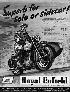 1950-Royal-Enfield-J2-Motorcycle-with-Sidecar-Original-Ad