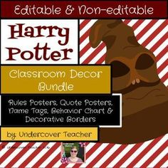 Do you love Harry Potter and his friends? Or do your students love the books and movies?This Harry Potter Classroom Decor (Decoration) Bundle includes:-Editable Name Tags (6 different designs)-Editable/Non-Editable Rules & Procedures Posters (10 non-editable & 3 editable posters)-Inspirational Harry Potter Movie Quote Posters (7 posters)-Decorative Borders for classroom display (7 different types)-Behavior Clip Chart with 7 levelsClick the links below to view the 5 resources included ...