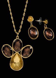 Conjunto Colar e Brincos Dourado com Pedras - Quintess