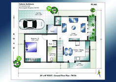Looking for 30 X 40 House Plans? Superior 30 X 40 West Facing House Plans for 2 Storey House. Detailed schematics of West Facing Home Plans in India 2bhk House Plan, Model House Plan, Duplex House Plans, Family House Plans, Bedroom House Plans, Small House Plans, House Floor Plans, West Facing House, Small House Layout