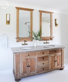 9 Repurpose furniture - A Dutch Colonial in Fort Langley becomes a calming abode for a busy family of four Bathroom Renos, Bathroom Renovations, Bathroom Interior, Bathroom Ideas, Bathroom Makeovers, Bathroom Inspo, Dutch Colonial Homes, Master Bathroom Vanity, Bathroom Vanities