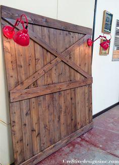 Barn door headboard with lights