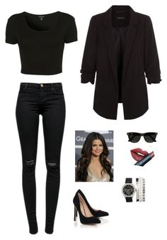 """""""Untitled #1002"""" by francyrizzo ❤ liked on Polyvore featuring Fiebiger, New Look, Topshop, Ray-Ban, J Brand and Blue Inc Woman"""