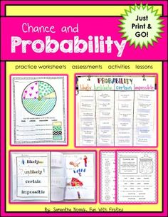 Probability: Print & Go! worksheets, activities, lessons, and assessments Kindergarten Learning, Teaching Math, Teaching Resources, Classroom Resources, Maths, 1st Grade Math, Grade 1, Math Words, Math Journals