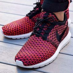 Own this piece of #Nikes, mind blowing pair of sneakers for running and sport. With a unique design for each pair of roshe runs, they sport the classic waffle outsole along with a far out red design and a soft down profile that make them fit like made for you. #Men #Fashion #Style