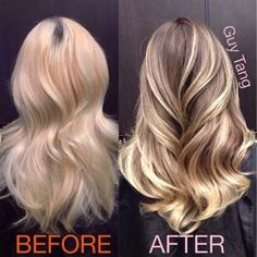 I like this transformation from bleach blonde to more natural highlights. by…