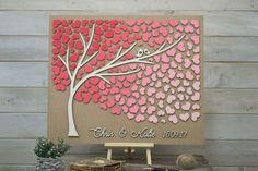 Custom colors 3D Wedding guest book alternative tree wood