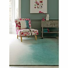 Bluebellgray Paintbox 18207 teal rugs are machine woven exclusively by Brink and Campman in Holland using a high quality pure new wool to create a dense thick pile. The Signature bluebellgray watercolour designs are transformed into these stunning rug Teal Rug, Grey Rugs, Yellow Rugs, Teal Chair, Bluebellgray, Home Goods Decor, Home Decor, Tapis Design, Textile Design