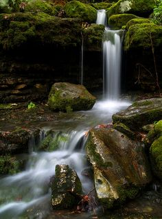 Moss Falls in Lost Valley, located in the scenic Boxley Valley of the Buffalo National River in the Ozark Mountains of Arkansas.