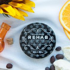 Dry, cracked, overworked skin just needs a little Rehab! Our solid lotion bar is full of shea butter and beeswax to provide you with intense, long-lasting moisture. Rub Rehab over any area that needs extra TLC as often as you need to and your skin will recover in no time. Just what the doctor ordered!  Fragrance: Vanilla and orange essential oils