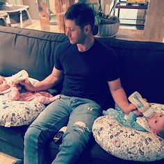 """Danneel on IG: """"Doin it ❤ #mancrushmonday""""   Husband goals    Jensen's comment """"when the remote control is right between your legs and you can't change the channel. #twins"""""""