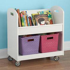 Kids Book Storage: White Kids Rolling Book Storage Shelf and Bin in Floor Storage