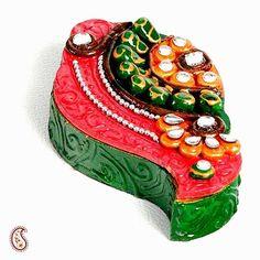 Kundans, Clay and wood painted Shankh Kumkum Chopra #Shankh Kumkum Chopra #Kumkum Chopra  #Diwali Poojan