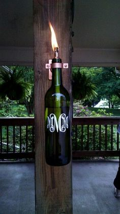 Wine bottle lighting for outdoor post