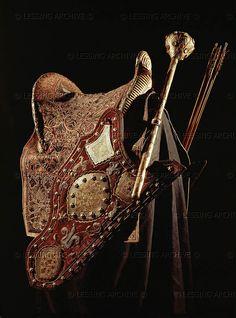 BAROQUE SADDLE, HORSE 17TH CENTURY Saddle, mace and quiver of Kara Mustapha Pasha who led siege to Vienna in 1683. Saddle bridge made of sheet- silver, marked with the stamp of the court factory of Sultan Mehmet IV. The mace is silver and niello work. Kunsthistorisches Museum, Ruestkammer, Vienna, Austria