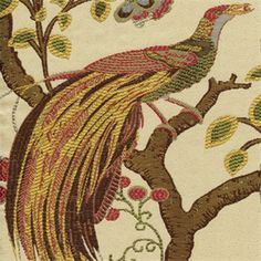 This is a green, gold, red, brown and blue floral bird jacquard upholstery fabric.Suitable for upholstery fabric, decorative pillows, heavy drapery fabric or bedding fabric.v145 NEF
