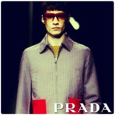 Prada Men Fall/Winter 2013/2014 multi colour check and ripper details