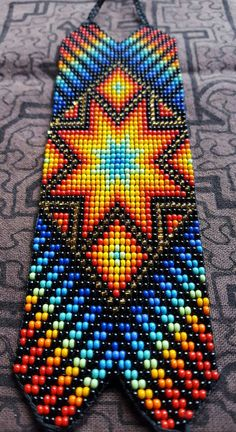 Star of Creation Thick Bracelet 31 bead Colombia Bead Loom Patterns, Peyote Patterns, Beading Patterns, Native American Patterns, Native American Crafts, Native Beadwork, Native American Beadwork, Seed Bead Art, Beaded Banners