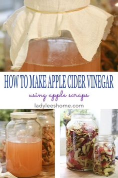 This is a step-by-step picture tutorial on how to make apple cider vinegar at home. We are going to use apple scraps, so if you are making a different apple dish and end up with a lot of apple scraps, you can easily use them to make a healthy apple cider Apple Cider Vinegar Health, Apple Cider Vinegar Remedies, Homemade Apple Cider Vinegar, Cold Home Remedies, Natural Remedies, Holistic Remedies, Health Remedies, Homeopathic Remedies, How To Eat Less