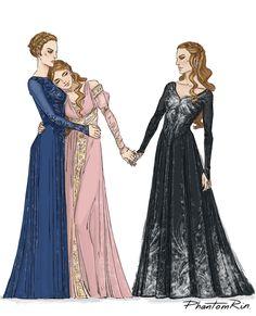 Archeron sisters by PhantomRin. Nesta, Elain, and Feyre. ACOWAR Sarah J Maas