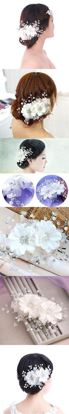 Soledi Bridal Hair Pieces Adjustable Rhinestone Pearl Lace Flower Bridal Hair Headband Headpiece Wedding